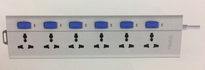 Bull 6 Sockets, 6 Switch 3mtr Extension Board