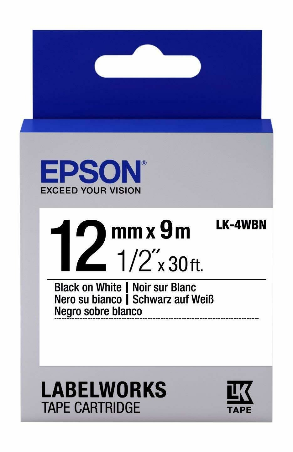 Epson LK-4WBN 12mm black On White Label tape