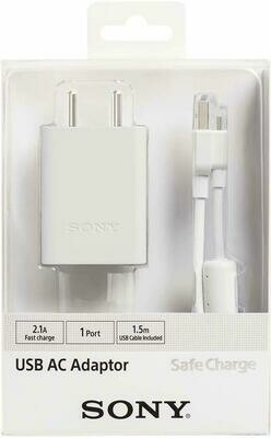 Sony USB AC Adaptor, Mobile Charger, 1 Port, 2.1 A, White