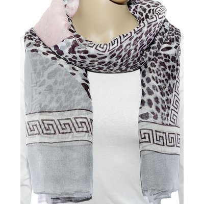 Schal pink / grey print