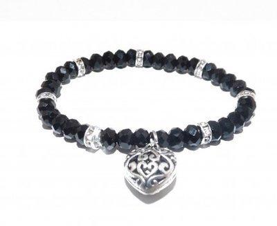 Glasperlen schwarz mit Herz, Pierres en verre coeur, glass pearls with heart