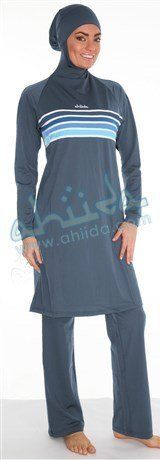 Ahiida Burqini® Modest Fit, Silver Grey Stripes