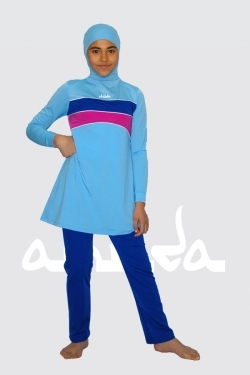 Ahiida® Burqini®™ Girls/Filles Dark Blue Stripes M 10 - 12 Jahre /Ans/ Years