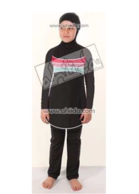 Ahiida® Burqini®™ Sportz Fit Mädchen/Filles/Girls Black Stripes