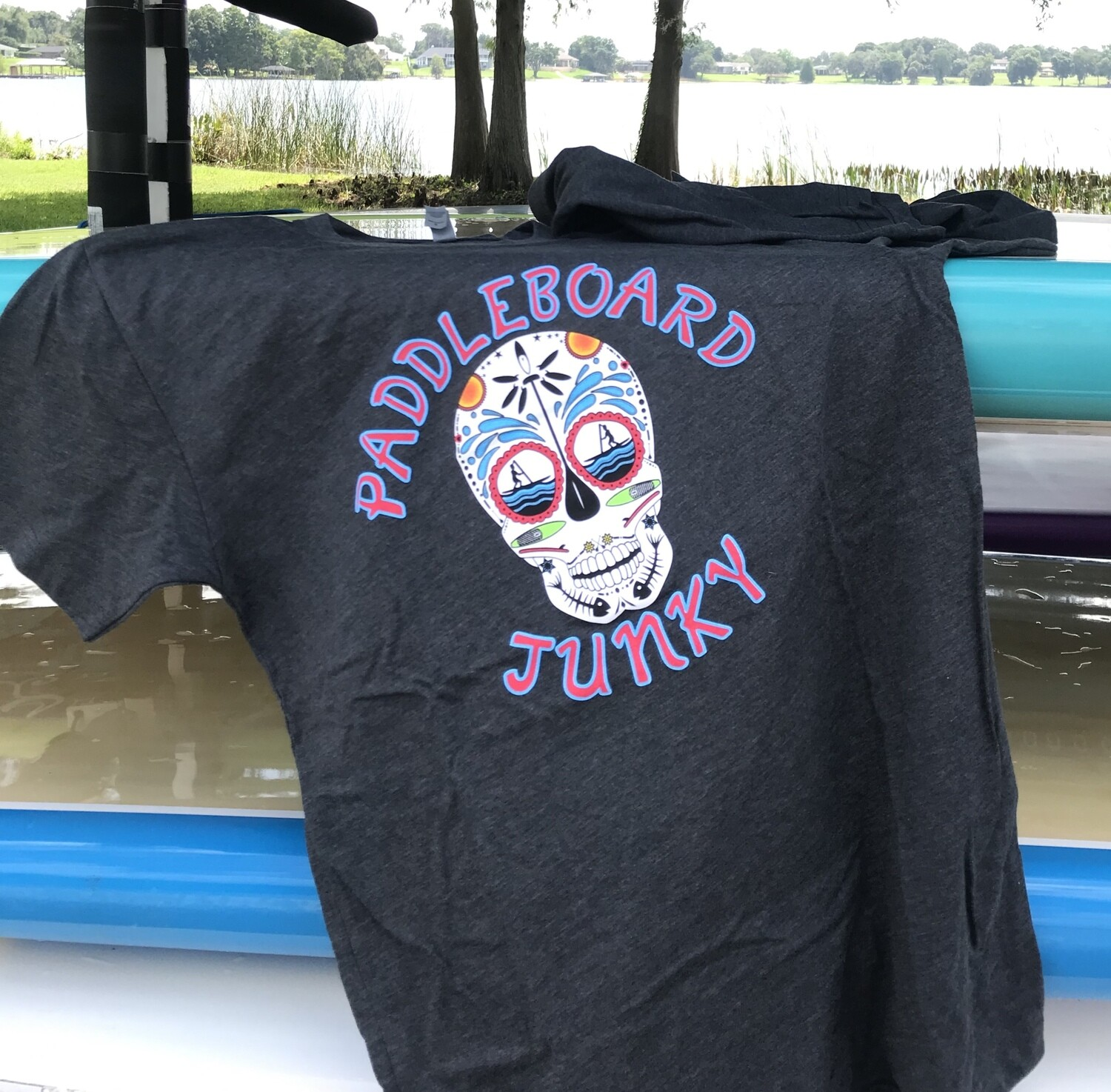 Sugar Skull Tee  Charcoal - Red