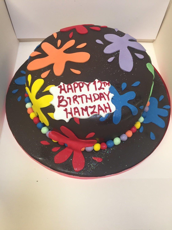 Incredible Paint Splatter Cake Personalised Birthday Cards Sponlily Jamesorg