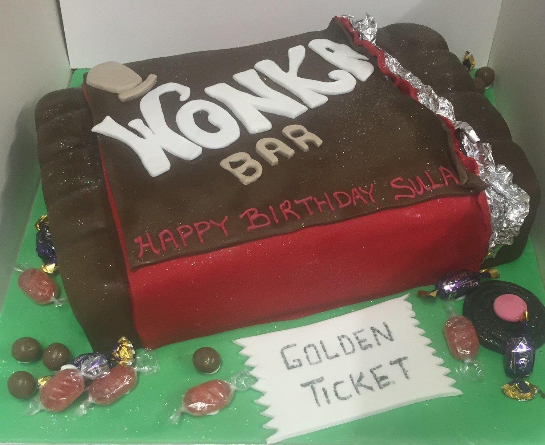 Willy Wonka Chocolate Bar Cake