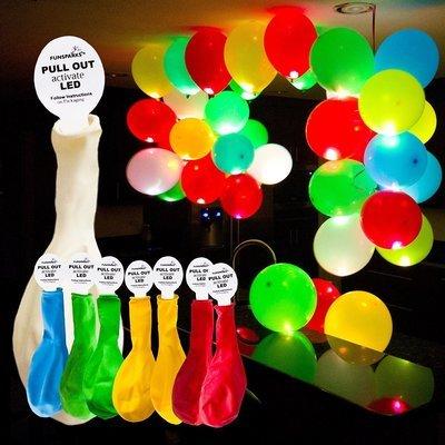 10 Pcs LED Luminous Balloons, 5 Colors - Birthdays Wedding, Sleepover, Fun Party