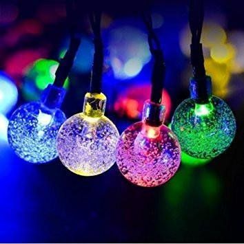 LED Crystal Ball String Lights - Christmas Tree Decorations - Attachable (2 Pcs)