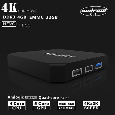 S8 MAX Android 8.1 TV Box Quad Core 4GB RAM 32GB ROM 2.4G/5.8Ghz Wifi