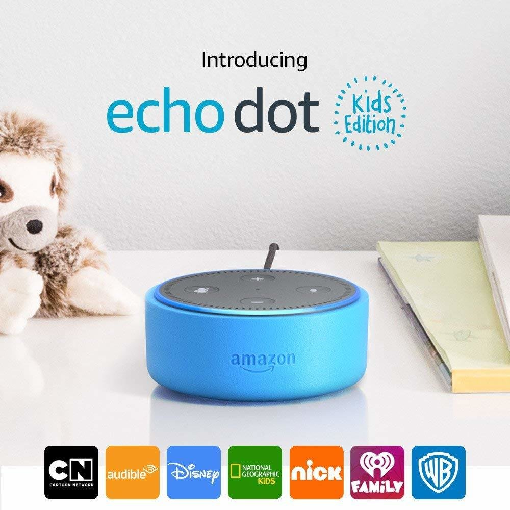 Echo Dot Kids Edition, a smart speaker with Alexa for kids - blue case