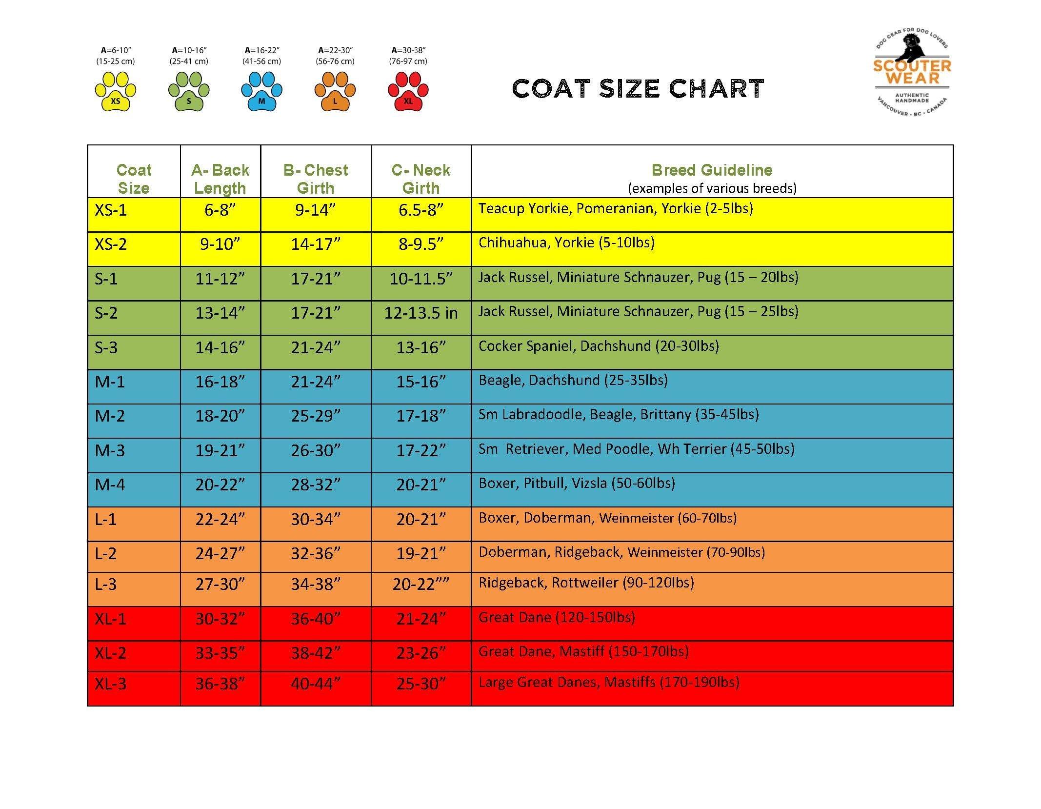 Coat Size Chart