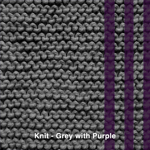 Grey with purple yarn
