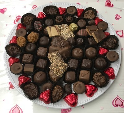 Love You 3 Lb Tray Assorted Milk and Dark Chocolates