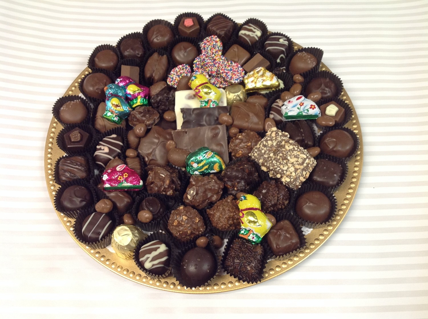 3 Pound Tray Easter Chocolate Tray.  An Assortment of Milk and Dark Chocolates, foiled solid chocolates for Easter.