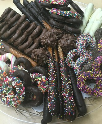 Pretzel Party Tray.  Includes 3 Ring Gourmet Pretzels, Pretzel Rods and Pretzel Clusters.  Approx. 3 Lbs.  Assorted Milk, Dark and White.  Special Order. Pickup or Delivery Only