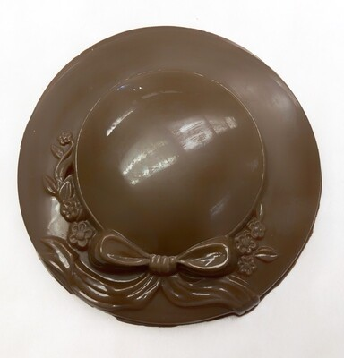 Solid Chocolate Ribbon Hat.  Very fancy favor and unique.  Gluten and Peanut Free.  Homemade at Carella's Chocolates.  Quantity discounts available.  Call us.  609-586-5136
