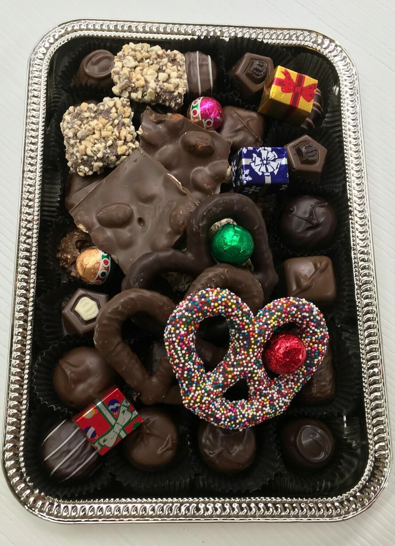 Holiday Tray Assorted Chocolates w/Holiday tag.  Free Shipping.