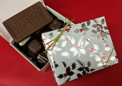 1/3 Pound of our Chocolate Favorites.  Choose Milk, Dark or Milk& Dark Chocolate.  Choice of Milk or Dark Holiday Bar. Free wrap with gold cord. Sugar Free also available