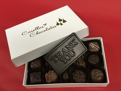 Half Pound of our Favorite Chocolates. Choose all Milk, all Dark or Milk and Dark Mixed.  Plus choose Thank you Bar, Milk or Dark.  Great for your Clients! Shipping is included. Free Holiday wrap.