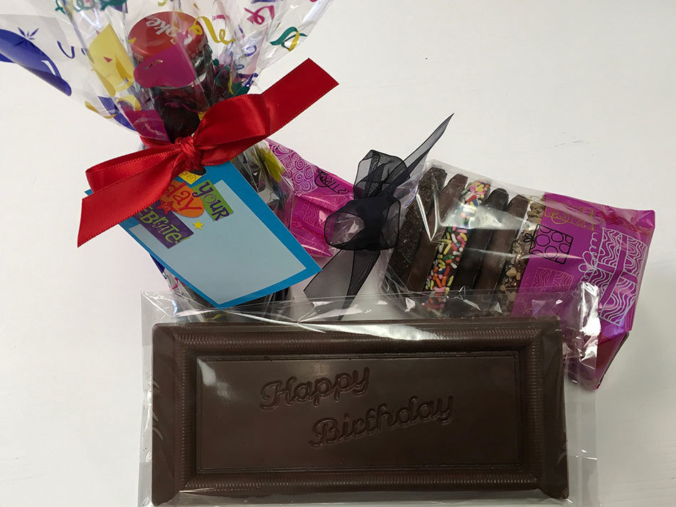 Happy Birthday Chocolates.  Milk Chocolate HB Bar, Gourmet Pretzels and Chocolate Covered Coke 8 oz.