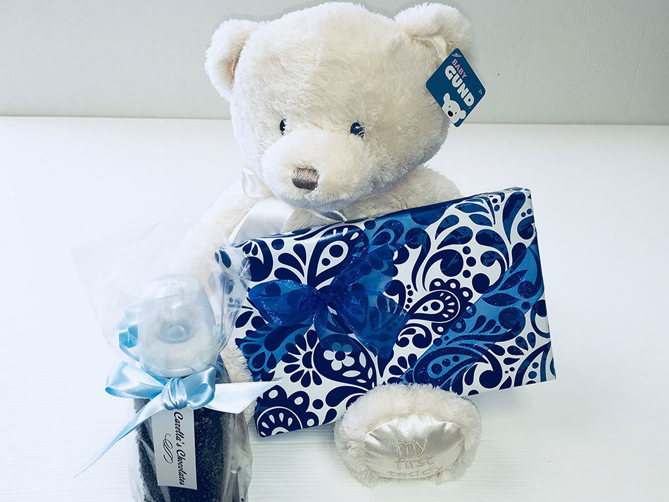It's a Boy! Gund Plush, Chocolate Covered Baby Bottle, 1 Lb. Asst. Chocolates Milk and Dark