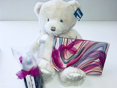 It's a Girl! Gund Plush, Chocolate Covered Baby Bottle, 1 Lb. Asst. Chocolates.