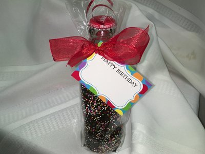 Chocolate Covered 8 ounce Beverage.  Easy Chocolate Removal.  Hand dipped in our Chocolate Kettle. Tag not included..