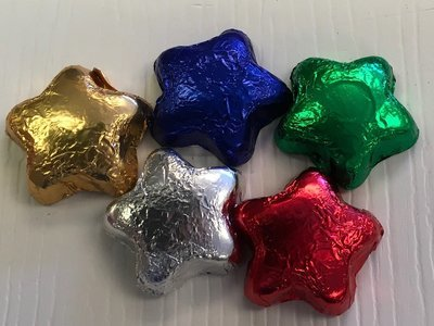 Milk Chocolate Stars (approx. 45 to pound).  Chose Color(s) (may contain traces of peanuts)
