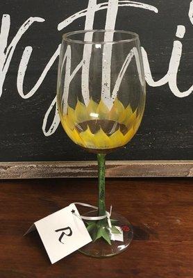 Hand Painted Sunflower Wine Glass.  19