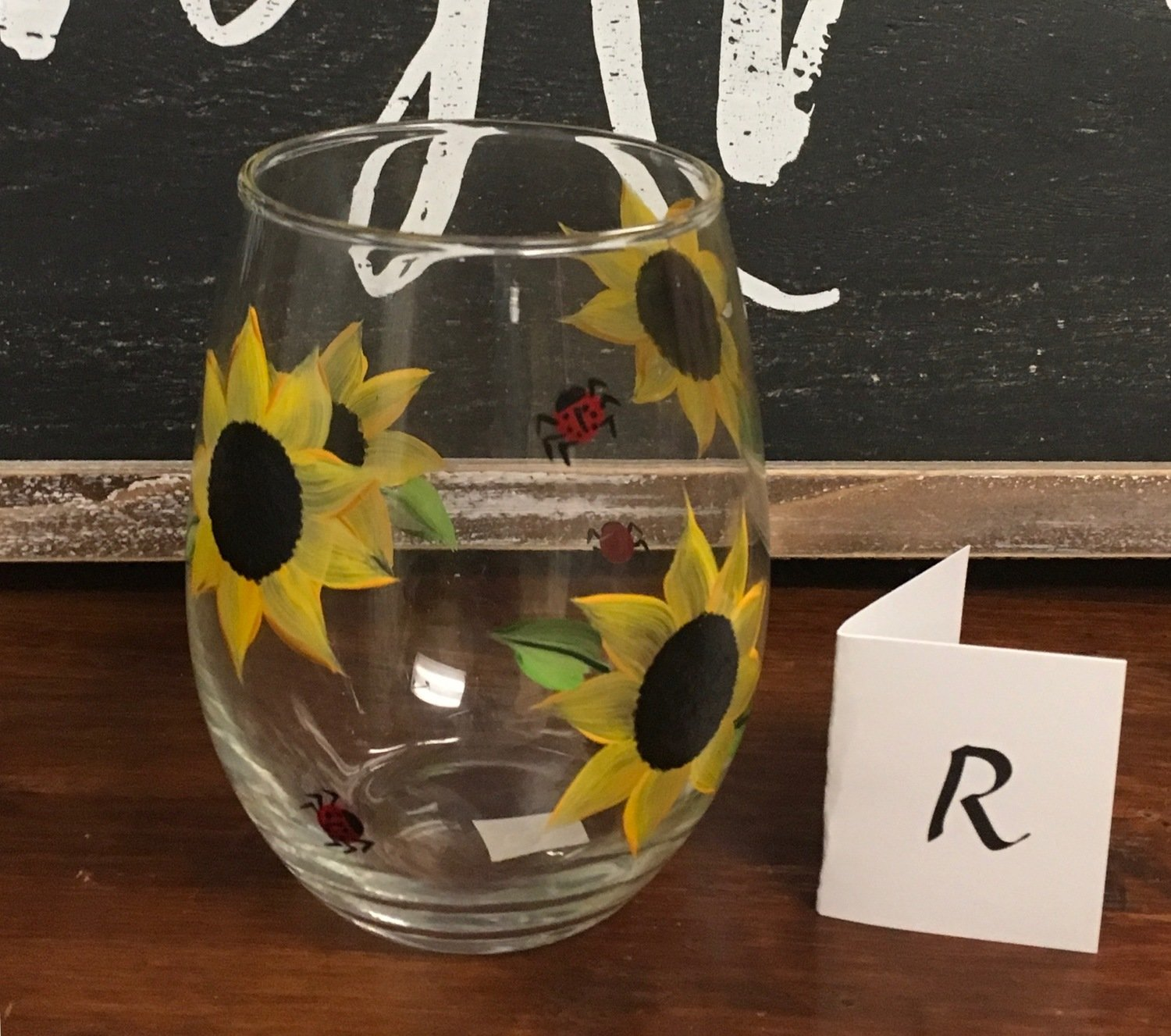 "Stemless Sunflower Wine Glass.  5"" tall, 21 oz. Hand Painted."