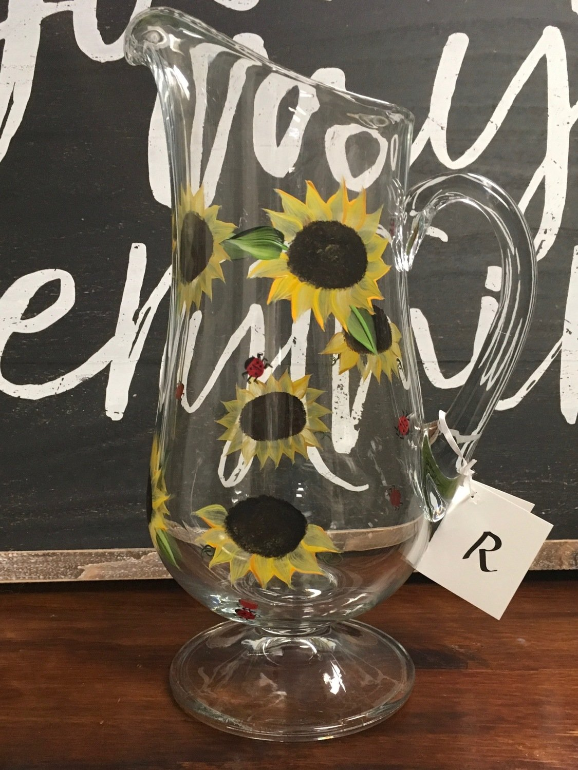 "Sunflower Pitcher.  Hand Painted.  Approx. 12""x7"""