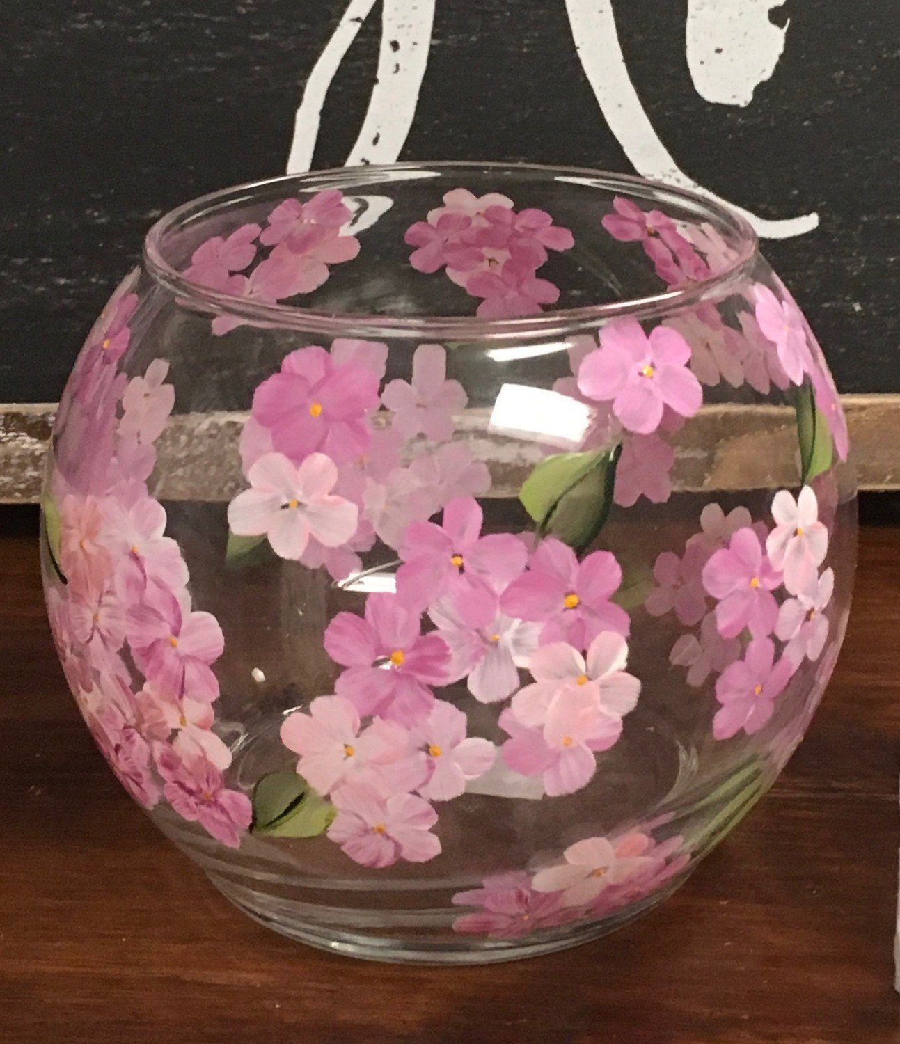 "Pink Hydrangea Candy/Candle Bowl.  4"" x 5"".  Hand Painted"