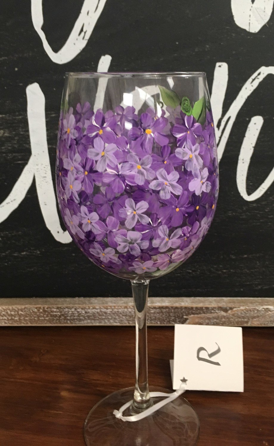 "Lavendar Wine Glass. 9"" tall, 19 oz.  Hand Painted"
