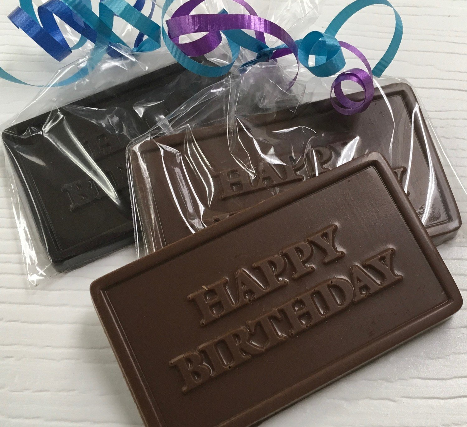 25 - Happy Birthday Chocolate Bar.  Available in Milk or Dark or Mix.  Choice of ribbon color. Peanut & Gluten Free.