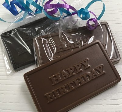 Happy Birthday Chocolate Bar.  Available in Milk or Dark or Mix.  Choice of ribbon color. Peanut & Gluten Free.