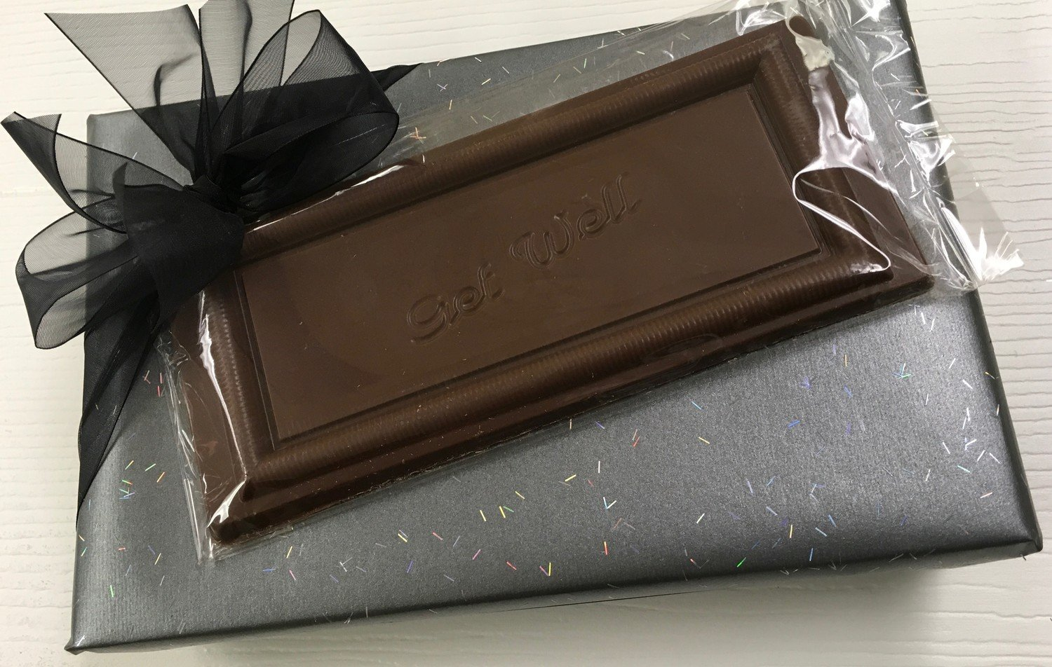 1 Lb Assorted Chocolates with Choice of Milk Chocolate Get Well, Thank you or Happy Birthday Bar (optional)