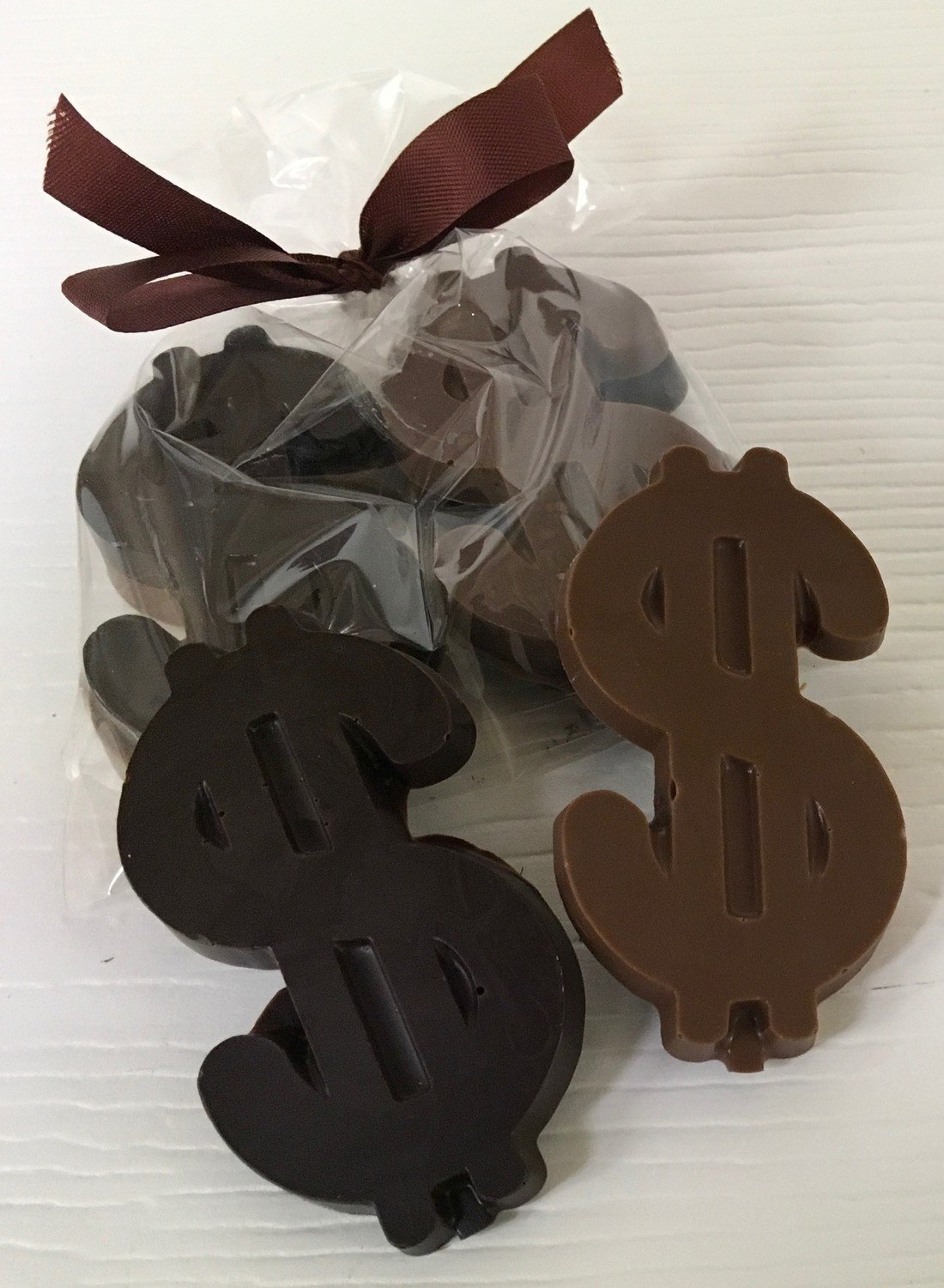 "10 Small Chocolate Dollar Signs Bagged w/ Ribbon.  2 in a Bag. 1 MK 1 DK Each dollar sign is 3"" x 1 1/2"" Choose your Color Ribbon"