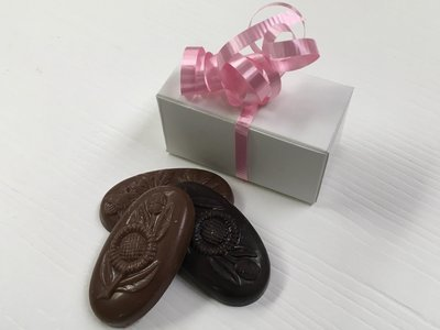 3 Piece Favor with Flower Chocolates Milk and Dark Mixed w/Choice of Ribbon Color