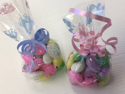 10 Baby Feet Bagged Jordan Almonds.  Choice of Ribbon Color