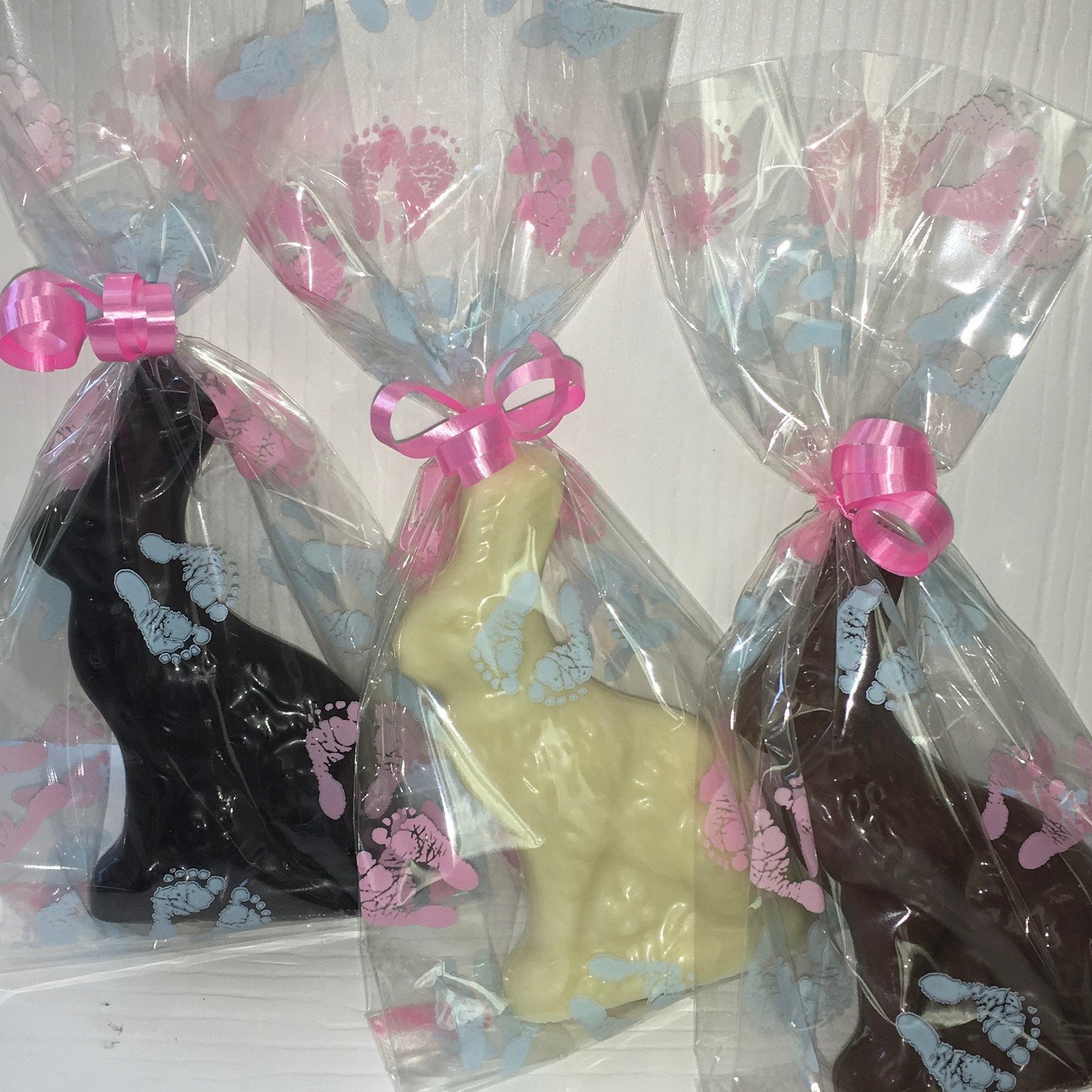 "10 Little Brother Baby Bunny Favor.  approx. 4"" tall. Available in Milk or Dark Only.  Choose Ribbon Color"