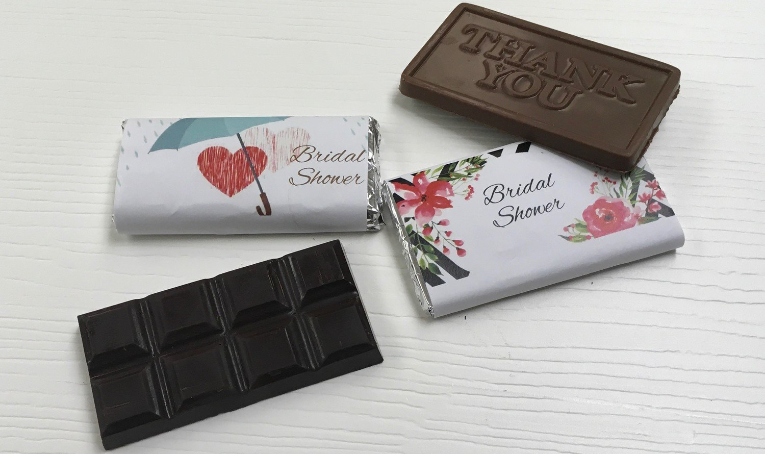 Personalized Bridal Shower Chocolate Bars.  (Chocolate included) Choose Thank you bar or Chocolate bar.