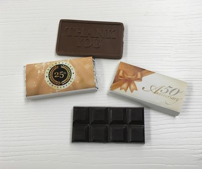 50 Anniversary Chocolate Bars. (Chocolate included) Choose from Thank you or Chocolate bar.