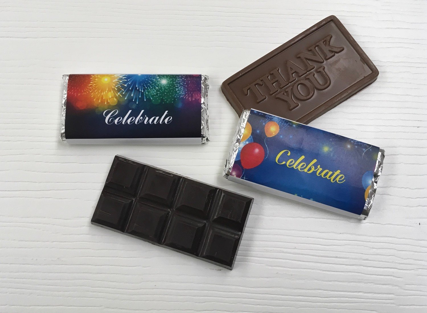 Celebration Chocolate Birthday Bars (Chocolate included).  Choose from Chocolate Bar or Thank you Bar. Personalize your wrapper for no extra charge.  (picture is $10.00 extra). Peanut & Gluten Free.