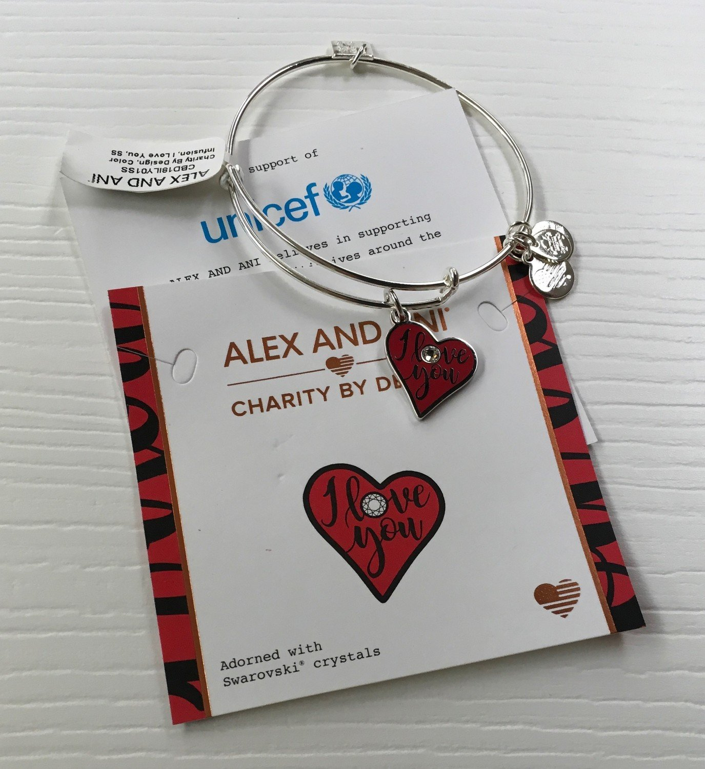 I love you Alex and Ani Bangle with Swarovski crystals.  Expandable.  Charity by Design,