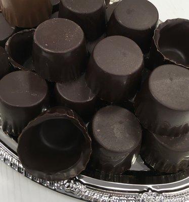 One Dozen Dark Chocolate Liquor Cups.  Peanut and Gluten Free