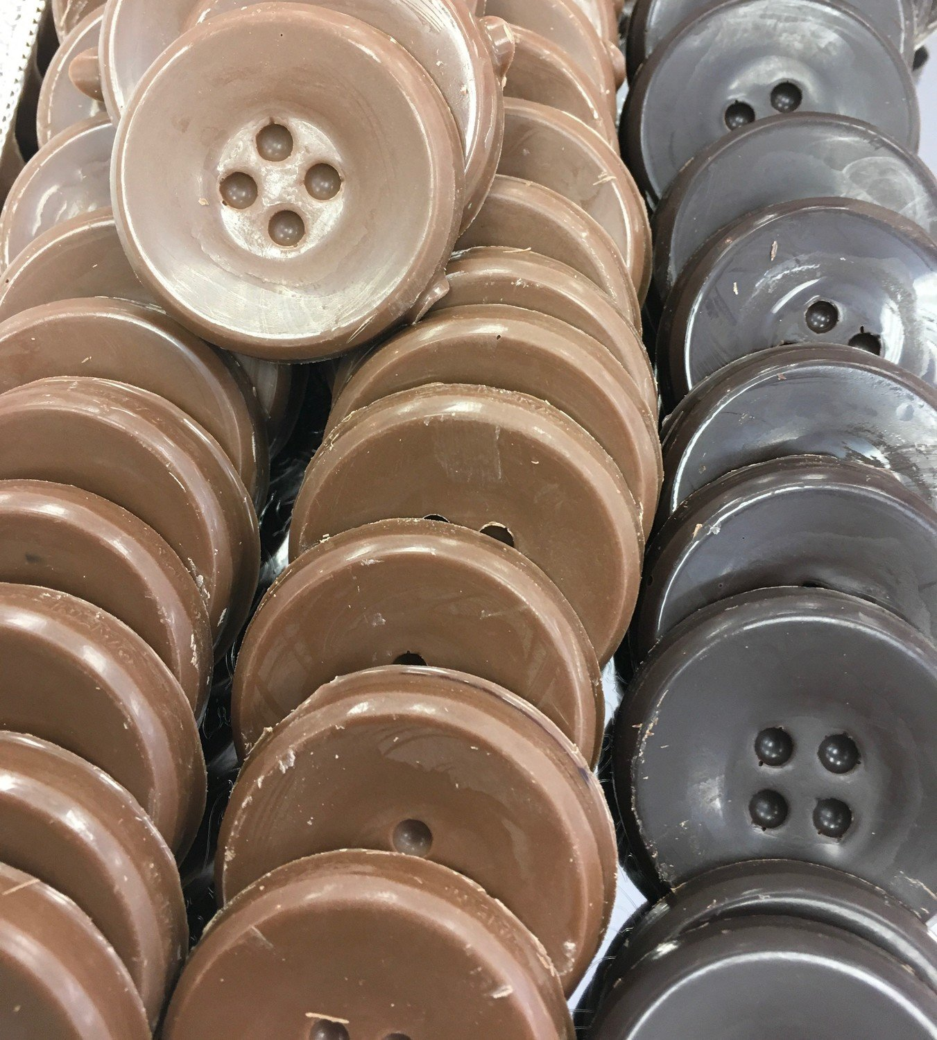 """Solid Chocolate Buttons.  1 3/4"""" approx.  Peanut and Gluten Free.  36 to a Lb."""