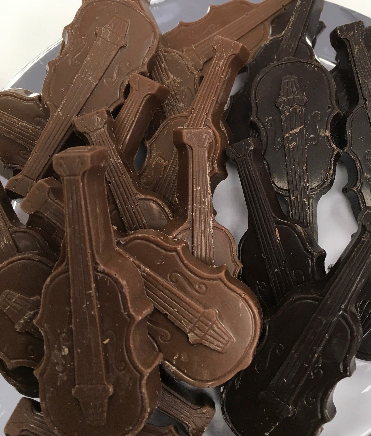 "Solid Chocolate Violins.  3"" x 1"" Peanut and Gluten Free.  32 to a Lb."
