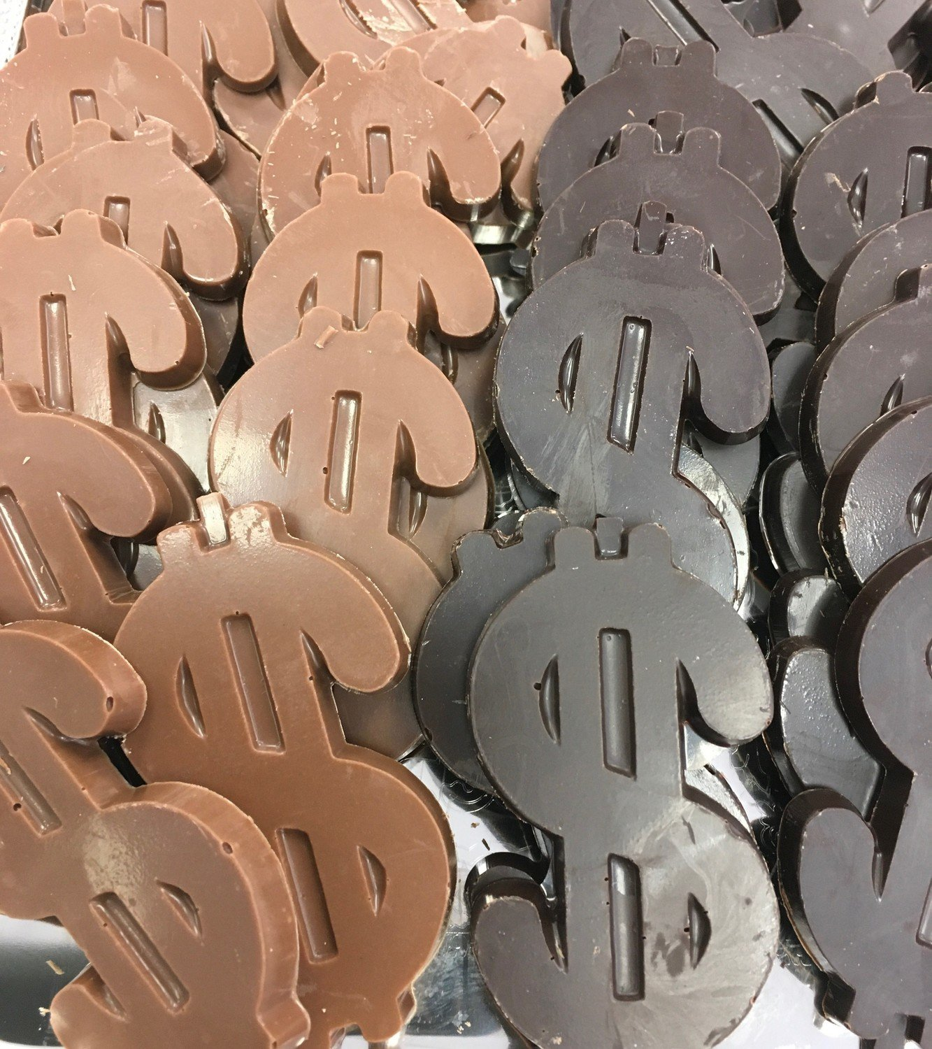 "Solid Chocolate Dollar Signs. 3"" x 1 1/2"".  Peanut and Gluten Free.  32 to a Lb."