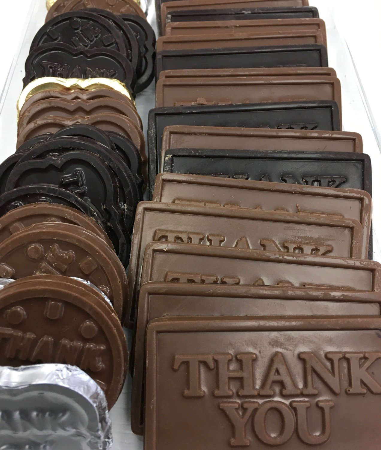 Assortment of Thank you Solid Chocolates. Peanut and Gluten Free.  Approx. 15 Assorted Thank you's